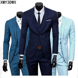 $enCountryForm.capitalKeyWord Australia - ( jacket + vest + pants ) 2018 Spring Men's Slim Fit Business Three-piece Suits Male groom Party dress  Man Wedding Blazers Sets