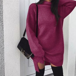 TurTleneck dresses plus size online shopping - Women Autumn Winter Knit Dress Warm Knitting Split Hoodie Dresses Loose Wool Skirt Fashion Plus Size Long Hoodie Solid Color Turtlenecks