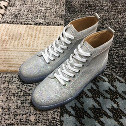 $enCountryForm.capitalKeyWord NZ - Brand Women men lovers red sole Casual Shoes bright silver match multicolor crystal glitter jelly shoes high top for party wedding dress