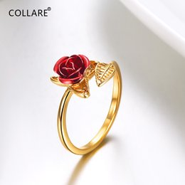 $enCountryForm.capitalKeyWord Australia - Collare Rose Flower Rings For Women Gold Silver Color Wedding Bridal Gift For Womens Wholesale Girls Dainty Jewelry R018