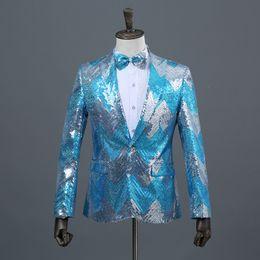 Vente en gros Mens Gradient Sequin Glitter Blazer Veste Un Bouton Noeud papillon Inclus Blazer Hombre DJ Fête De Mariage Scène Costumes