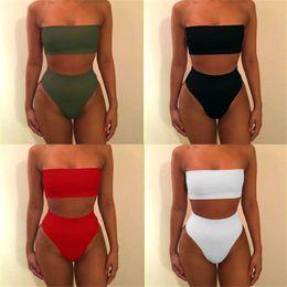 $enCountryForm.capitalKeyWord Australia - Sexy Women High Waist Swimsuit Bikini Bandeau Thong Plus Size Swim Wear For Women 2018 Biquinis Swimming Suit Bathing Biquini