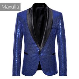 street wear jackets 2019 - Maxulla New sequins suit jackets men BlingBling blazer jackets Hip Hop causal Twinkle suit blazer street wear Mla054 che