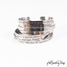 men bracelet silver engraved NZ - New 6mm silver Stainless Steel Bangle Engraved Inspirational Quote Hand imprint Cuff Mantra Bracelets For women men Best Gift