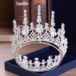 high fashion hair tiara NZ - Newest Fashion Silver Gold Women Hair Jewelry Crystal Wedding Round Tiaras And Crowns Queen High Diadem Luxury Accessories Party