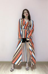 $enCountryForm.capitalKeyWord NZ - V-neck, long-sleeved shirt and skirt, rainbow striped print, waist-down dress