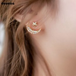 Wholesale Exquisite Compact Gold Color Stud Earrings For Women Laides Moon Star Shape Shinning Crystal Stone Jewelry E308
