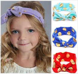 Babies Hair Wearing Headbands Australia - Baby gilding dot Headband New arrive infant boy girl solid color head wear 12 colors for choose Hair Accessories with Bowknot 0-4T FJ354