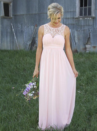 Discount long coral maternity bridesmaid dresses - New Sheer Crew Lace Neck Chiffon Pale Pink Bridesmaid Dresses Illusion Back Country Style Maternity Long Maid Of Honor D