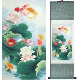 Decoration flower oil painting online shopping - Fish And Lotus Flowers Painting Chinese Traditional Art Painting Home Decoration Paintings