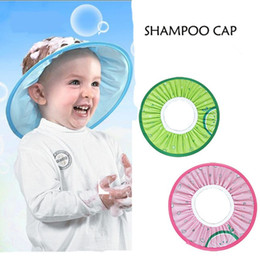 Wholesale 1pcs Elastic Cartoon Baby Waterproof Shower Cap Baby Earmuffs Shampoo Cap Shading Hat Kids Hair Cutting Caps Protection