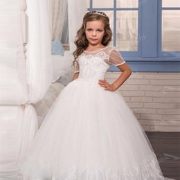 $enCountryForm.capitalKeyWord Australia - Little White Lovely Mermaid Flower Girl Dresses 2019 Sheer Neck Lace Appliqued Tiered Skirts Corset Back Kids Formal Wear