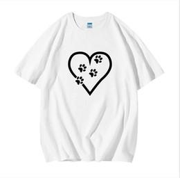 Wholesale dog t shorts online – design Harajuku Heart Footprint T Shirt Women Plus Size S XL Cartoon Funny Dog Ladies Tops Cotton Short Sleeve Basic Tee TShirt