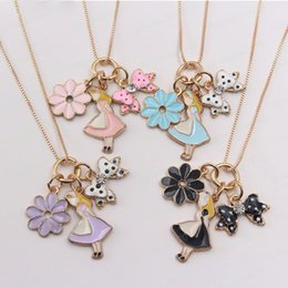 gold pendants children NZ - charm baby fashion flower bowknot pendant necklace for girls gold chain necklace diy jewelry for kids children gift