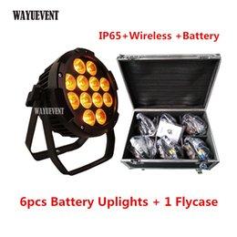 Iluminação LED para palcos 12X18W RGBWA UV 6in1 alimentado por bateria de LED uplights sem fio de recarga Batter LED par para casamento em Promoiio