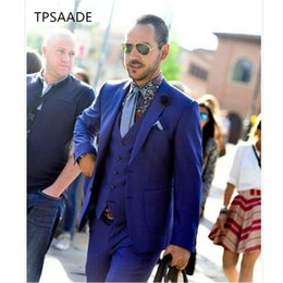 Modern Formal Suits NZ - Royal Blue Men Suit Modern Business Custom Made Formal Dress Groom Tuxedos Wedding Suits for men 2018 (Jacket+Vest+Pants)