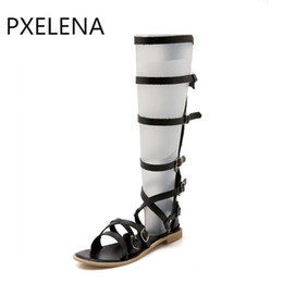 low boot cut NZ - PXELENA 34-43 Size Rome Designer Knee High Boots Gladiator Sandals Woman Soft Leather Cut out Low Heel Gladiator Sandals Shoes