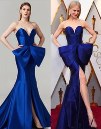 Oscars Prom Dresses Australia - Gorgeous Royal Blue Sweetheart Mermaid Prom Dresses Long New 2019 Sexy Slit Front Trumpet Satin Oscar Big Bow Celebrity Gowns Evening Dress