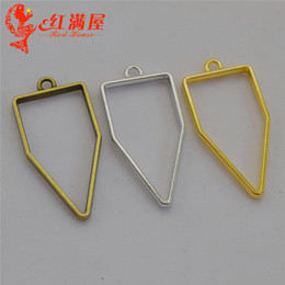Silver Plated Frames Charms Wholesale Australia - 50pcs 45*22MM Antique bronze hollowed out geometric geometrical charms gold glue metal frame blank hollow pendants DIY jewelry making