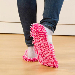 cleaning mop slipper shoes Australia - Floor Unisex Chenille Foot Shoes Coral Fleece Lazy Washable Striped Cleaning Mop Slippers Quick Dusting Home Polishing