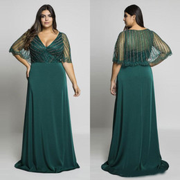 Wholesale Hunter Green Beading Plus Size Prom Dresses V-Neck Evening Gowns With Wrap A-Line Floor Length Long Formal Dress