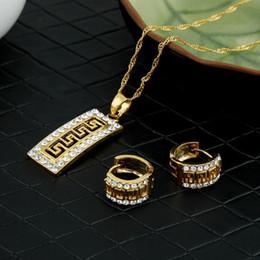 Greek Gifts Wholesale Australia - whole saleLuxury cz Vintage greek fret jewelry set pendant necklace earrings key pattern gold crystaljewelry african wedding jewelry Gift