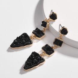 Tooth Crystal Australia - Earrings new alloy resin crystal teeth geometric triangle irregular female earrings AliExpress