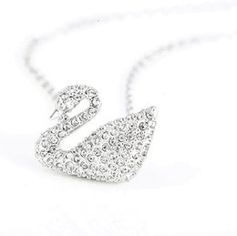 $enCountryForm.capitalKeyWord NZ - Gold Plated Silver Swan Necklace Rose Gold White Blue Black Swan Pendant Little Red Book With Style Mom Wife Sterling Silver Necklace