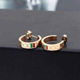 Toptan satış Yeni Geliş Marka Tasarımcı Halkalar Üst Kalite G harfli 3 Renkler Paslanmaz Çelik Altın Kaplama Küpe Kulak Çıtçıt Kadınlar Takı Noel hediyesi