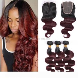 burgundy black hair dye NZ - Wine Red Ombre Human Hair Weave Bundles with Closure 1B 99J Burgundy Black Roots Body Wave Hair and Lace Closure Free Part