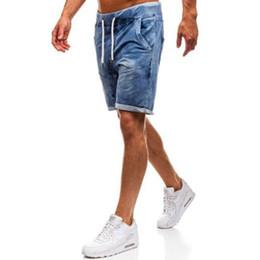 short ripped jeans for men 2019 - 2019 New Summer Ripped Mens Denim Shorts Slim Regular Knee Length Short Hole Jeans Shorts For Male Jeans cheap short rip