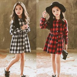 Chinese Pageant Dresses NZ - Kid Baby Girls Dress Christmas Plaid Tutu Dress Four Colors Clthing Toddler Kids Princess Long Sleeve Plaids Party Pageant Dresses