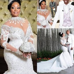 Beading high collar wedding dress online shopping - Plus Size Mermaid Wedding Dresses African Arabic High Neck Long Sleeve Lace Beadings Court Train Luxury Bridal Gowns
