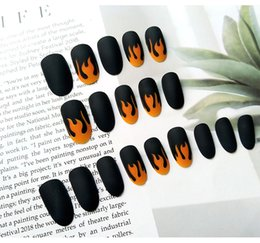 Patterned acrylic nail tiPs online shopping - 24pc Black Flame Pattern Nail Art Tips Matte Design Short Round Head Full Cover Fake Nail Art Tips French