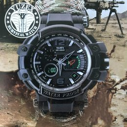 Survival ropeS online shopping - QMXD Outdoor Camping Multi functional Watch Survival Watch Compass Thermometer Rescue Rope Paracord Bracelet Equipment Tools Kit