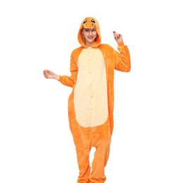 Dinosaur Cartoon Movie Australia - winter animal women autumn flannel animated cartoon pyjama suit orange yellow cute dinosaur Pajama set