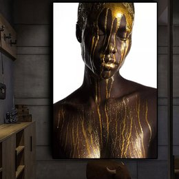 $enCountryForm.capitalKeyWord Australia - Nude African Black and Gold Woman Oil Painting on Canvas Cuadros Posters and Prints Scandinan Wall Art Picture for living room No Framed