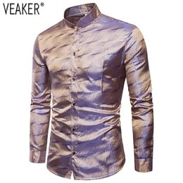 $enCountryForm.capitalKeyWord Australia - 2019 New Men's Silk Satin Printed Shirts Male Nightclub Shiny Gold Shirt Men Slim Fit Long Sleeve Shirt
