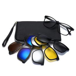 43516eea56 Unisex Square Non-prescription Eyeglasses Glasses Clear Lens Eyewear With 5  Pcs Magnetic Clip-on Sunglasses For Men Women Male
