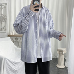 men dress xl NZ - Summer Thin Dress Shirt Men's Fashion Business Casual Striped Shirt Men Streetwear Wild Loose Long Sleeve Shirts Mens S-XL