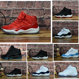 Navy Girl Shoes Australia - Cheap XI 11s Gym red Kids Basketball Shoes Midnight Navy Gamma Blue Concord Children 11 Boys Girls Sneaker Youth Kids Sports Trainer