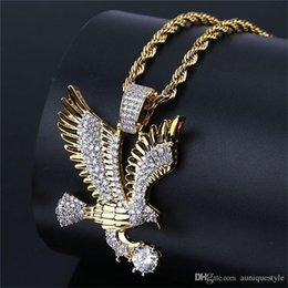 $enCountryForm.capitalKeyWord Australia - Hip Hop Eagle Pendant Necklace, Auniquestyle Gold Color Plated Copper Iced Out Micro Paved CZ Necklaces Men Charm Jewelry with Rope Chain