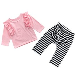 RubbeR necking online shopping - Girl Suit Kids Coordinates Round Collar Long Sleeve Lotus Leaf Fold Edge Jacket Lotus Leaf Fold Decorated Rubber Stripe Pants