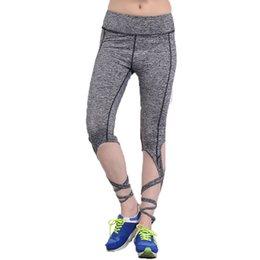 1b9e8cd8a143d 2018 Summer Black Gray Bandage Cross Leggings Women High Waist Sporting  Pants Fitness Gymming Lady Capris
