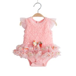 cute babies photos flowers 2019 - Cute Baby Girl Clothes Summer Newborn Lace Flowers Christening Gown Dress Fluffy Infant Baptism Dresses Photo Props chea