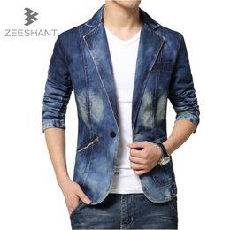 $enCountryForm.capitalKeyWord Australia - Fashion Brand Men Blazer Men Trend Jeans Suits Casual Suit Jean Jacket Slim Fit Denim Jacket Suit in Men's Jackets