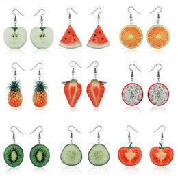 tomato gifts UK - Lovely Acrylic Fruit Pendant Earrings Dangle Drop Hooked Earrings Strawberry Pineapple Tomato Kiwi Orange Cucumber Pitaya Etc. Women Jewelry