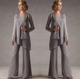 Panting Pictures Australia - Mother Of The Groom Grey Chiffon Bridal Mother Bride Pant Suits With Jacket Women Evening Pant Suits Robe De Mere De Mariee