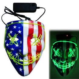 halloween horror mask wholesale Canada - Halloween EL Wire Mask Creative Light up Skull LED Ameican Flag Mask Halloween Party Cosplay Costume Horror Glowing Dance Masks 13 Styles