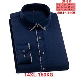 Discount long sleeve collar work dress - autumn summer men Large size plus size shirt 8XL Long sleeve striped 14XL big 7XL work Dress shirt 10XL Business 12XL re